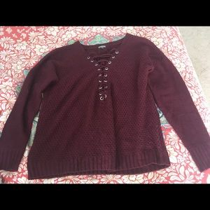 Burgundy/maroon chunky lace-up sweater
